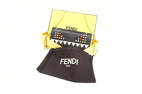 Fendi Monster Wallet on Chain in Textured Canvas