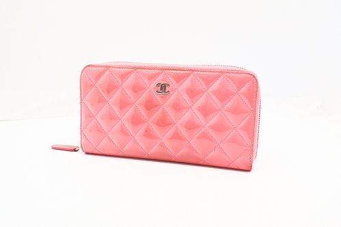 Chanel Matelasse Long Wallet in Pink Patent Leather