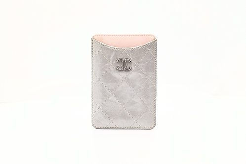 Chanel Card Case in Silver Matelasse Leather