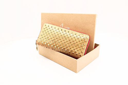 Louboutin Zipped Long Wallet in Golden Spiked Leather