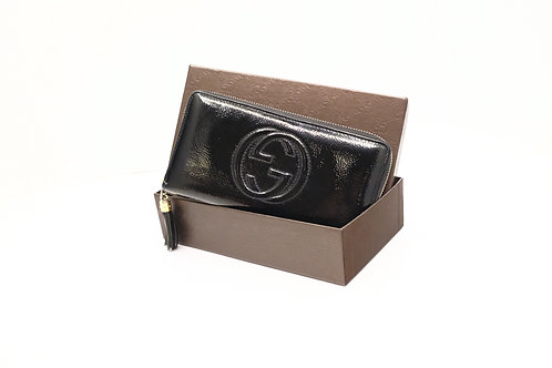 Gucci Soho Long Wallet GG in Black Patent Leather
