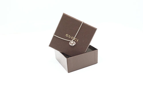 Gucci Heart GG Necklace in Sterling Silver