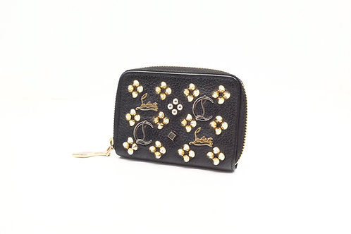 Louboutin Pannettone Coin Case in Black Spiked Leather