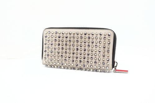 Louboutin Long Wallet in Gray Spiked Leather