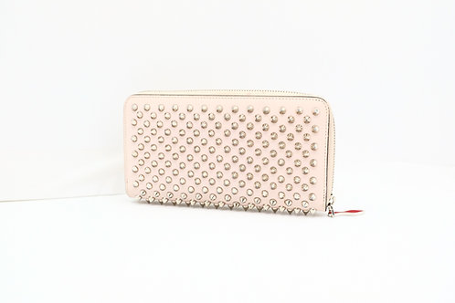 Louboutin Long Wallet in Nude Spiked Leather