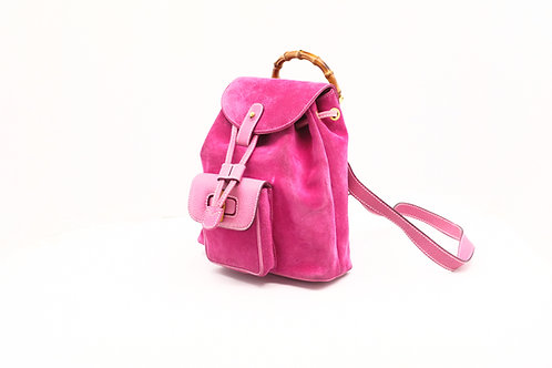 Gucci Bamboo Line Backpack in Pink Suede