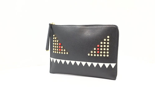 Fendi Monster Wristlet Clutch in Black Leather