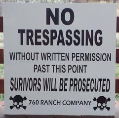 exterior sign, casper wyoming, no trespassing