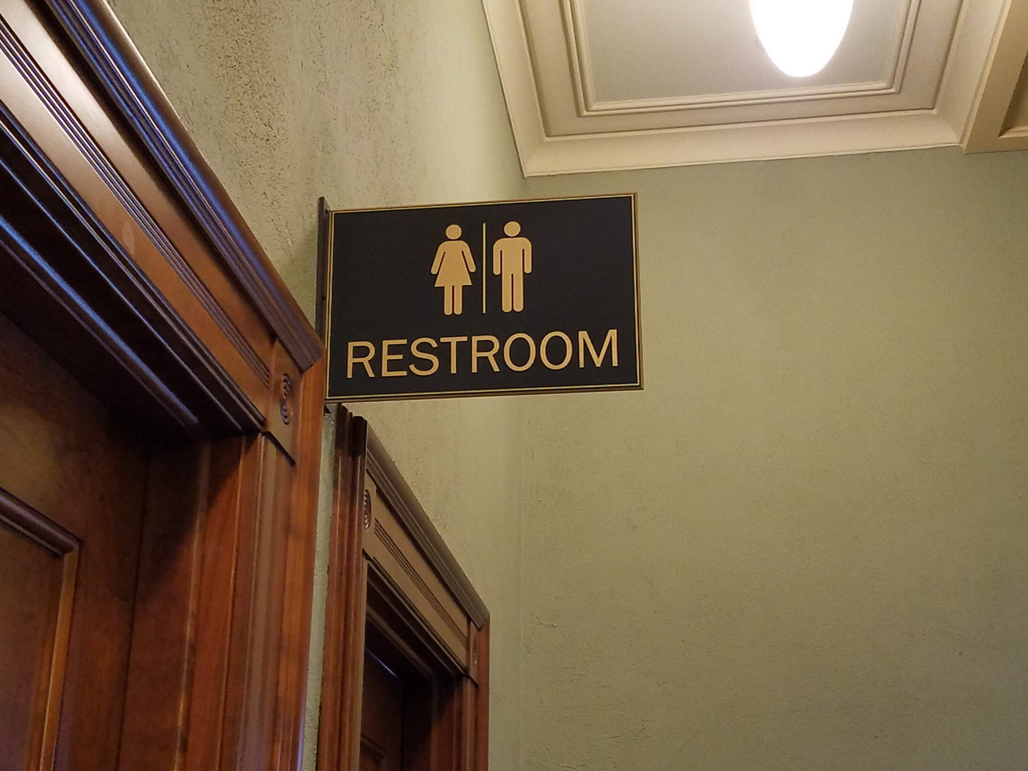 Restroom sign, Wyoming State Capitol Cheyenne WY