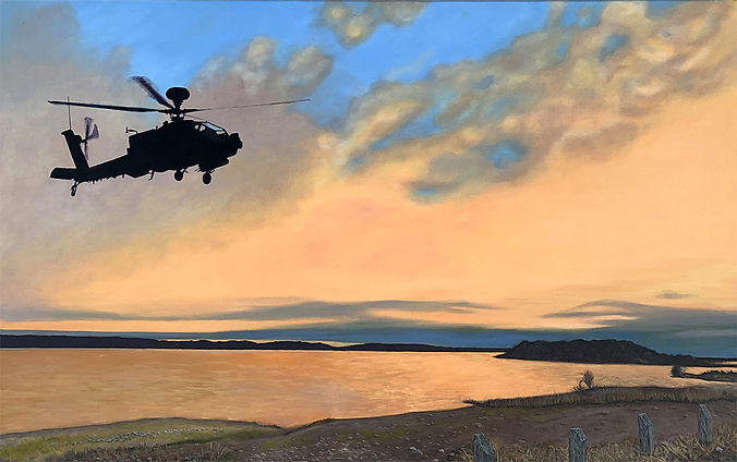 Painting of an Apache helicopter over Stillhouse Hollow Reservoir at sunset