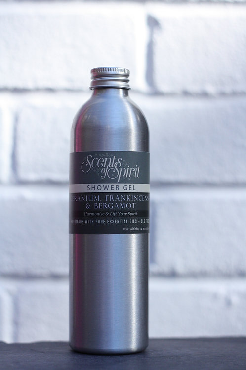 Geranium, frankincense & bergamot shower gel