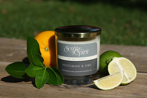 Petitgrain & lime soy wax candle