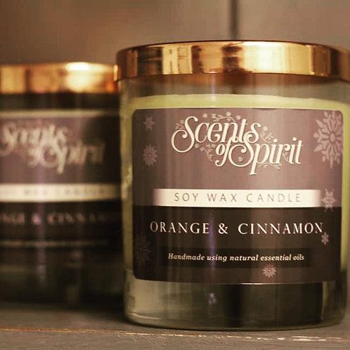 Orange & cinnamon soy wax candle