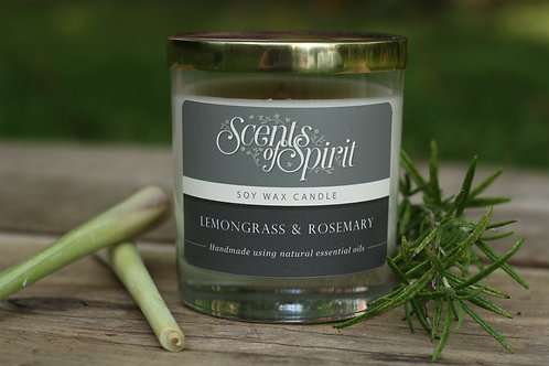 Lemongrass & rosemary soy wax candle