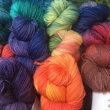 Hand dyed sparkle yarn