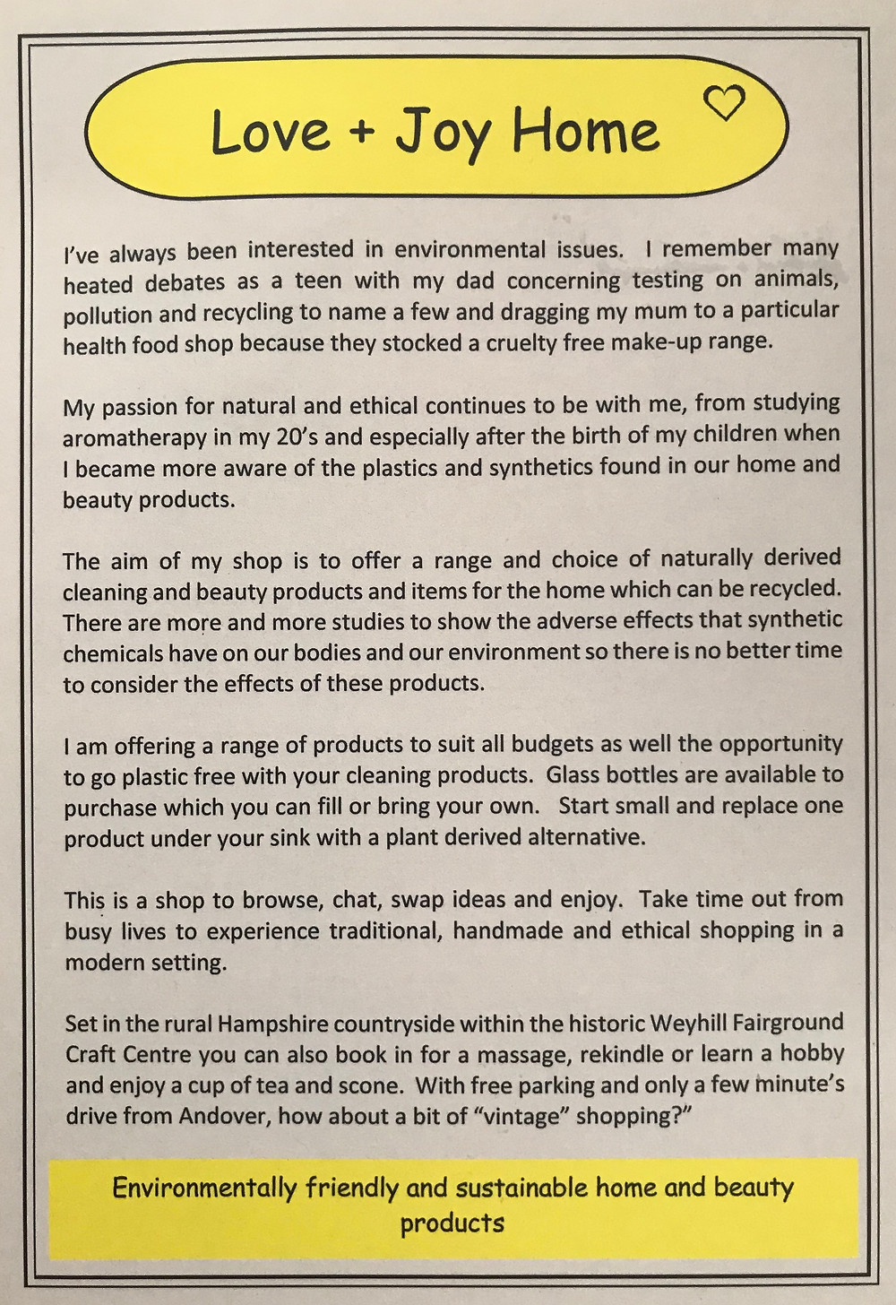A little bit about Sarah and her shared passion for environmentally-friendly products