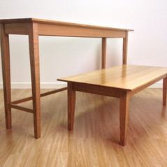 Oak Console & Coffee Tables