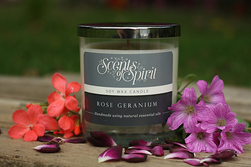 Rose geranium soy wax candle