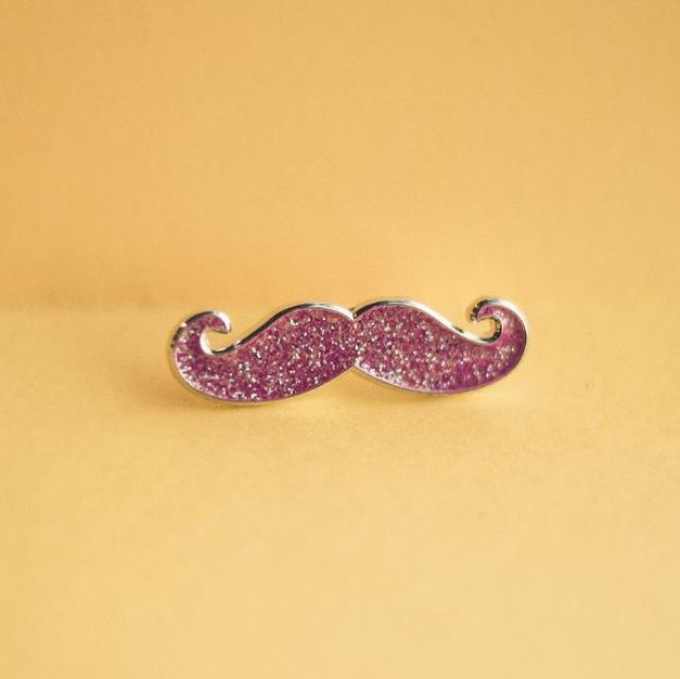 Pink Mustache Pin