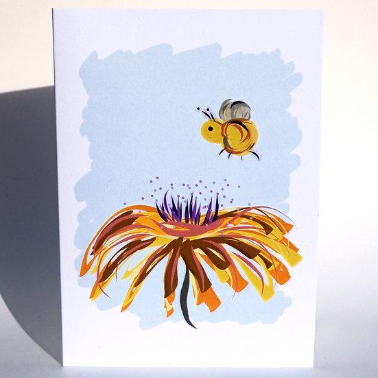 Flower Bee Greetings Card