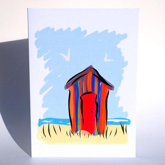 Beach Hut Greetings Card