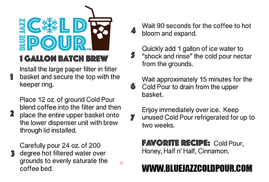 Cold Pour 1 Gallon Batch Brew Instructions for Cold Brew