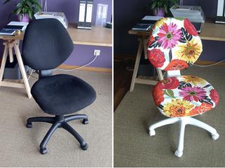Transformando a cadeira antiga e um novinha em folha!