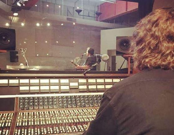 Tom Thiel recording at Rock Garden Studios