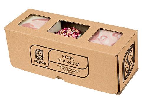 2 Soap & 1 Bathbomb Gift Box - Rosey Geranium