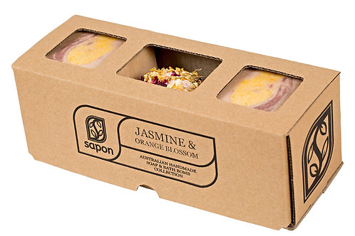2 Soap & 1 Bathbomb Gift Box - Jasmine & Orange Blossom
