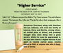 "Saturday, May 15, 2021: ""HIGHER SERVICE"""