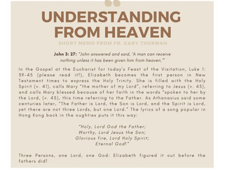 Monday, May 31, 2021: UNDERSTANDING FROM HEAVEN