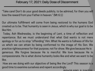 February 17, 2021: Daily Dose of Discernment