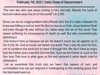 February 18, 2021: Daily Dose of Discernment
