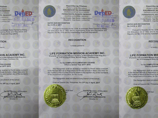 RECOGNITION CERTIFICATE RECEIVED FROM DEPED