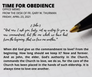 "Friday, April 23: ""Time for Obedience"""