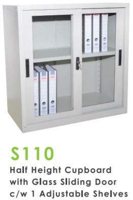 Half Height Glass Sliding Door Cupboard