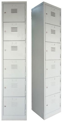 6 Compartments Metal Locker
