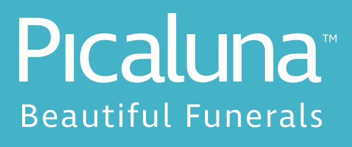 Picaluna Logo and Tagline on light blue