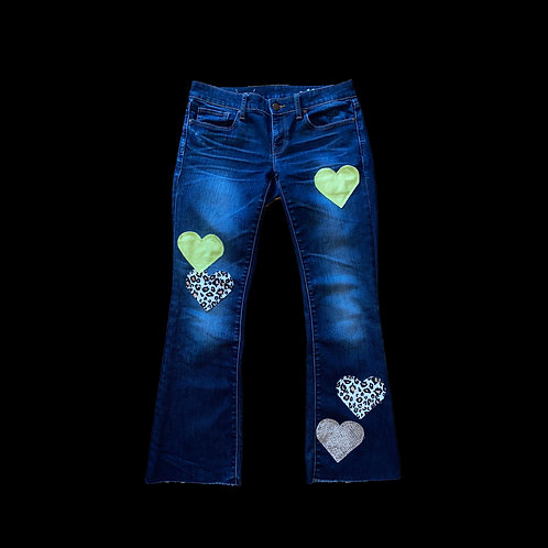 LIME & LEOPARD HEART DENIM