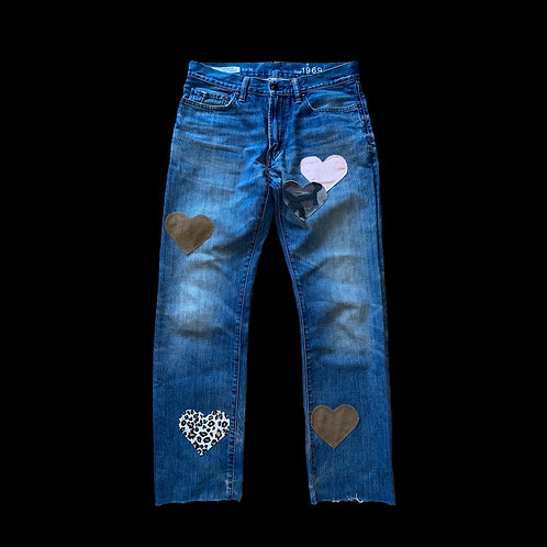 BROWN & PINK HEART JEANS