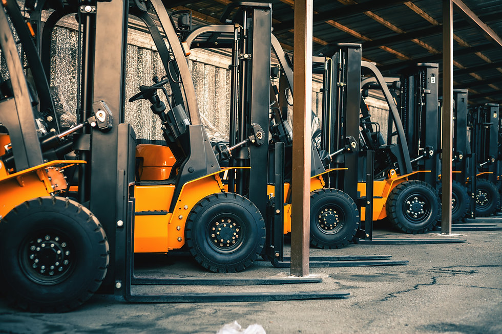 Background of a lot of forklifts, reliable heavy loader, truck. Heavy duty equipment, fork