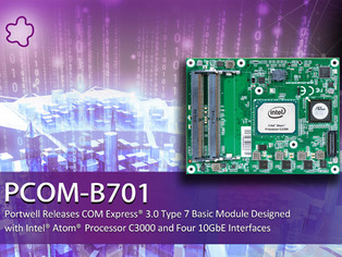 PORTWELL RELEASES INTEL® ATOM® PROCESSOR C3000 SERIES-BASED COM EXPRESS® 3.0 TYPE 7 BASIC MODULE DES