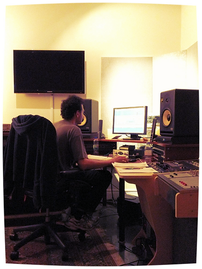 M.Class Dias at Atlas Sound with recording engineer Waleed Deyab.