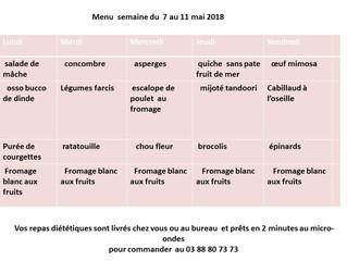 le menu pour la semaine du 7 au 11 mai 2018