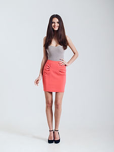 Fashion Model with Red Skirt