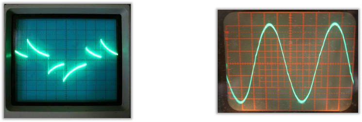 Modified and pure sine wave on an oscilloscope.