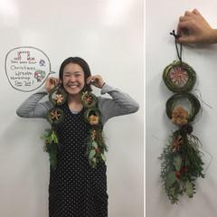 ハナのゆかこさんとクリスマスリース作り Making a Christmas Wreath with Yukako-san