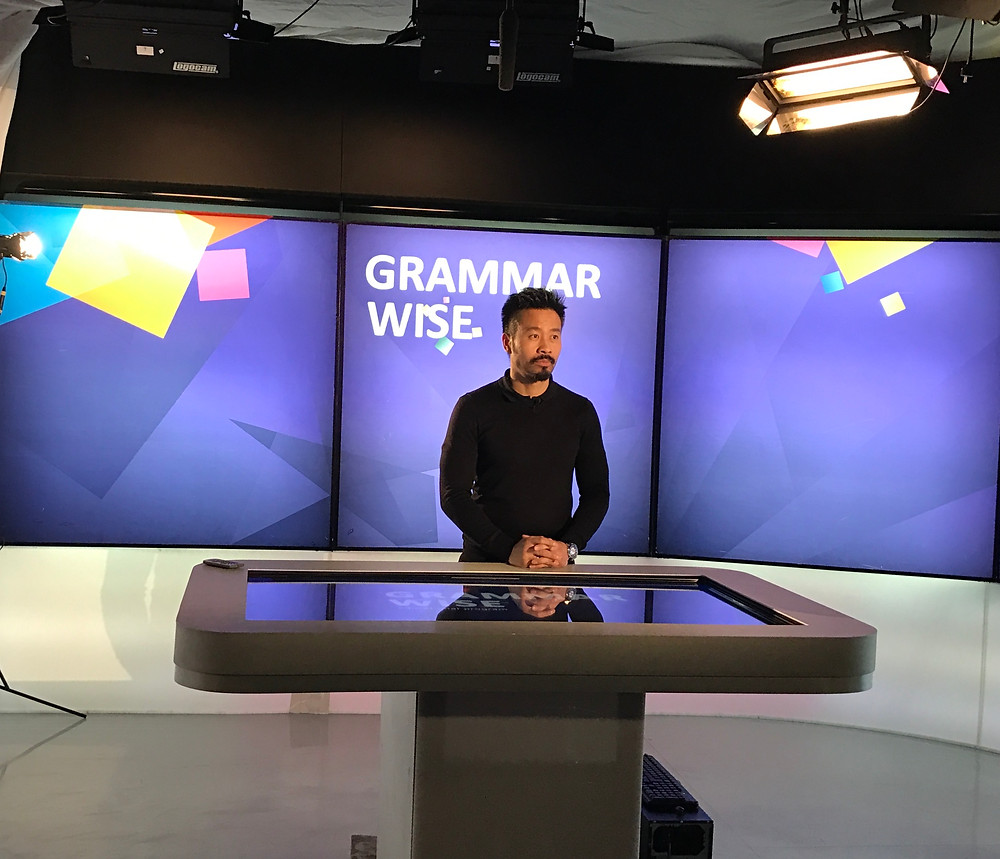 Me filming an episode of grammar wise with English Club TV
