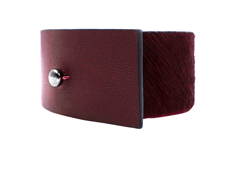 Dansk: Red + Gray Leather Cuff